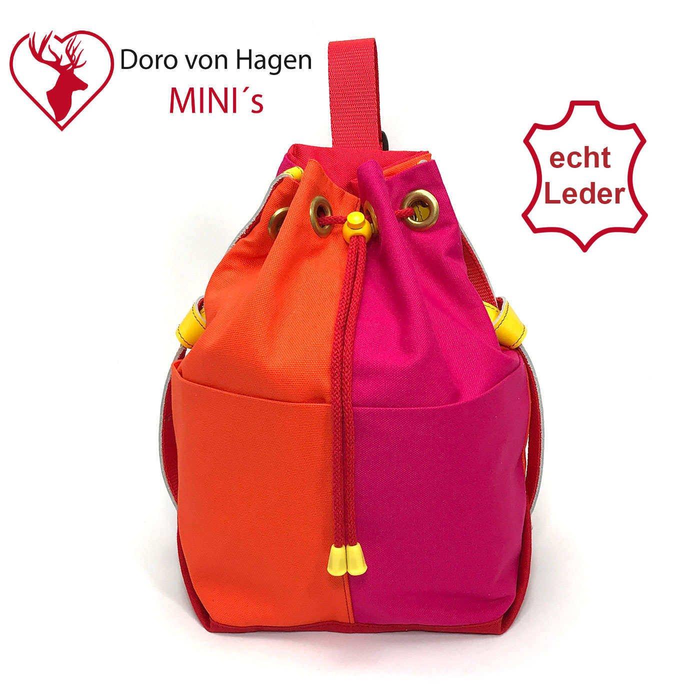 Kinder Designer Seesack JODY mit gelben Ledergriffen. Kinder Sling Bag Crossbody Rucksack in Orange, Pink und Rot. Kita Rucksack für Mädchen (M-SR-o-p)
