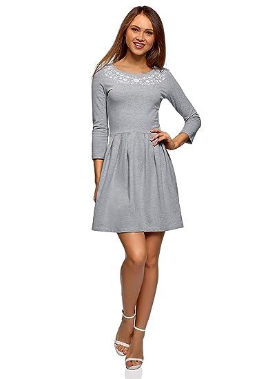 oodji Ultra Damen Jerseykleid mit Druck Business Damen