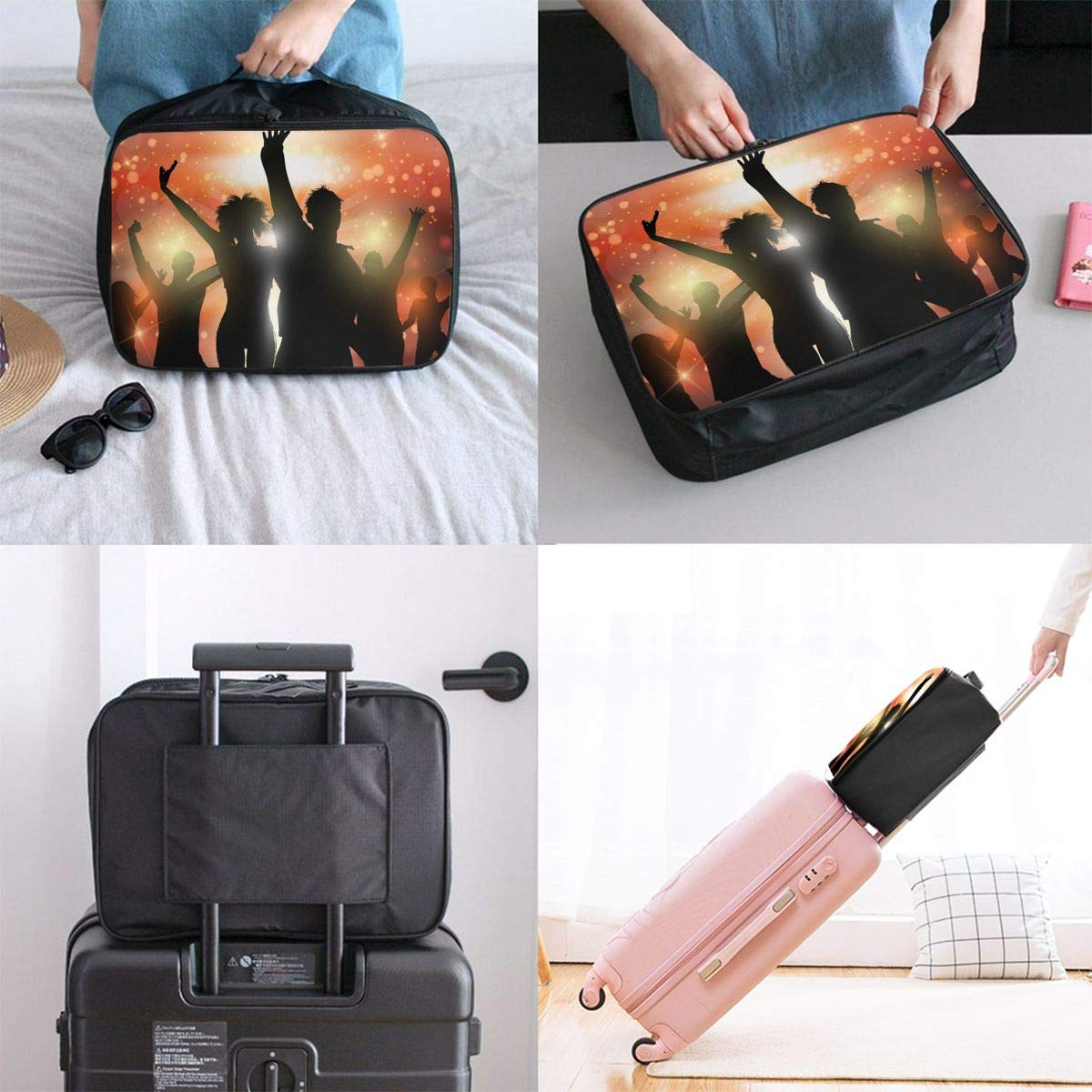 Travel Luggage Duffle Bag Lightweight Portable Handbag Dance Music Large Capacity Waterproof Foldable Storage Tote