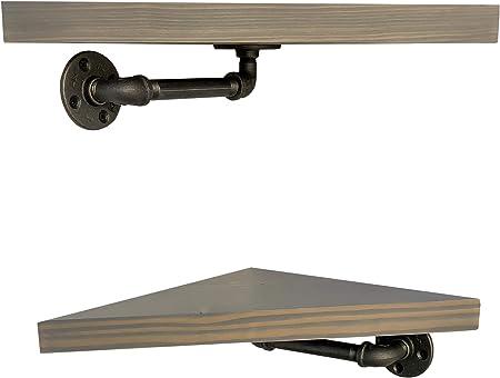 DIY CARTEL - Soporte de esquina para tubería industrial por Hardware/Soportes solamente. Perfecto para: estantes flotantes y muebles industriales, granja, muebles de tubo vintage – calidad industrial – 2 unidades: Amazon.es: Hogar