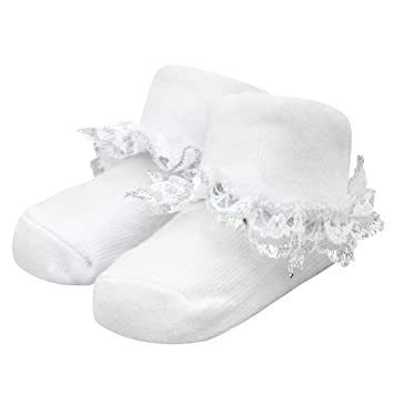 choose official really comfortable colours and striking Soft Touch Baby Girl Ruffle Socks - White assorted, size 0-6 months pack of  2