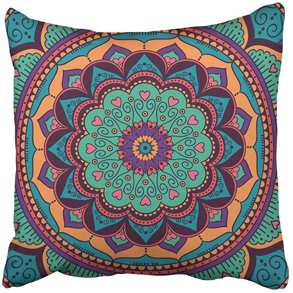 Amazon.com: Throw Pillow Cover Square 18x18 Inches Yoga ...