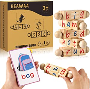HEAWAA Wooden Reading Blocks for Kids, Movable Spinning Alphabet Toddler Montessori Blocks with Words Flash Cards, Educational Kindergarten Toys for Girls & Boys