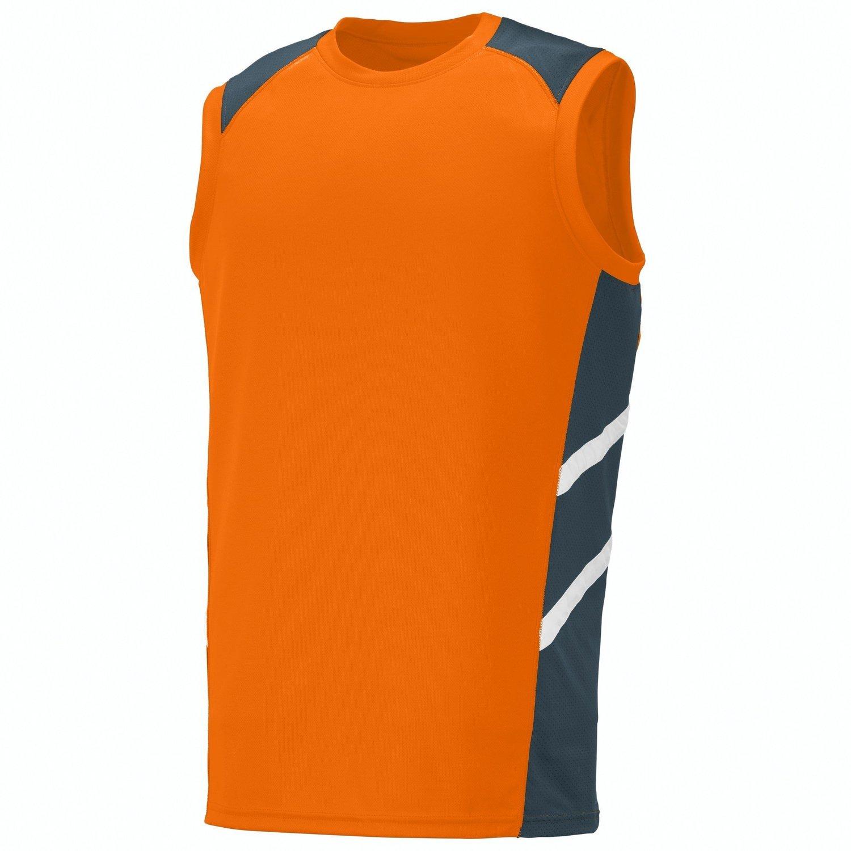 Augusta Sportswearメンズ斜めノースリーブジャージー B012KBGLM2Power Orange/Slate/White S