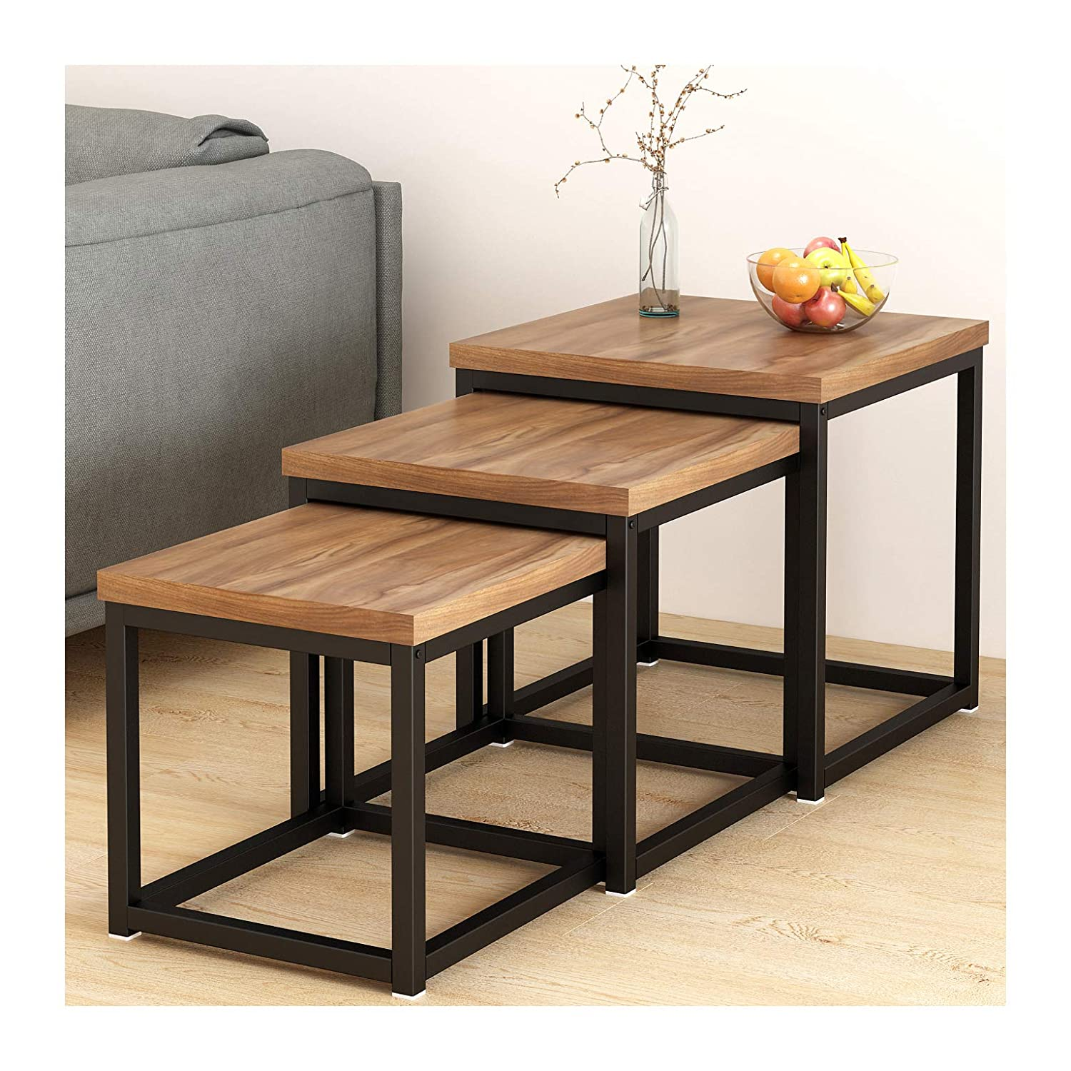 Cherry Tree Furniture CLIVE Walnut Nesting Tables Nest of 3 Tables 3-Piece End Tables 50 x 50 x 50 cm