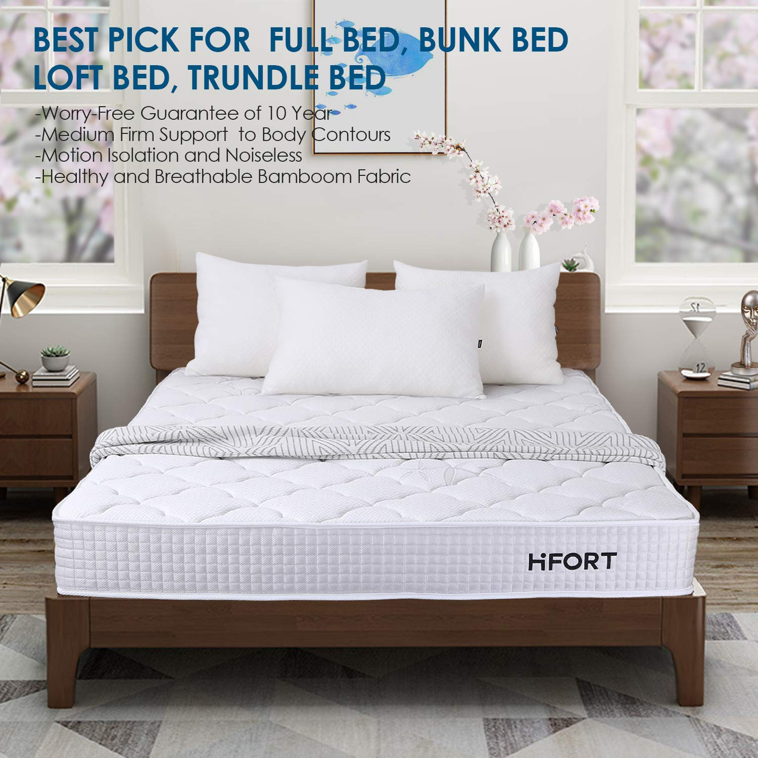 Amazon.com: HIFORT Twin Size Mattress 8 Inch Medium Firm Pocket Coil Spring Tight Top Bamboo Fabric 108-night Trial 10-Year Warranty 39x75 Inch, Colchones ...