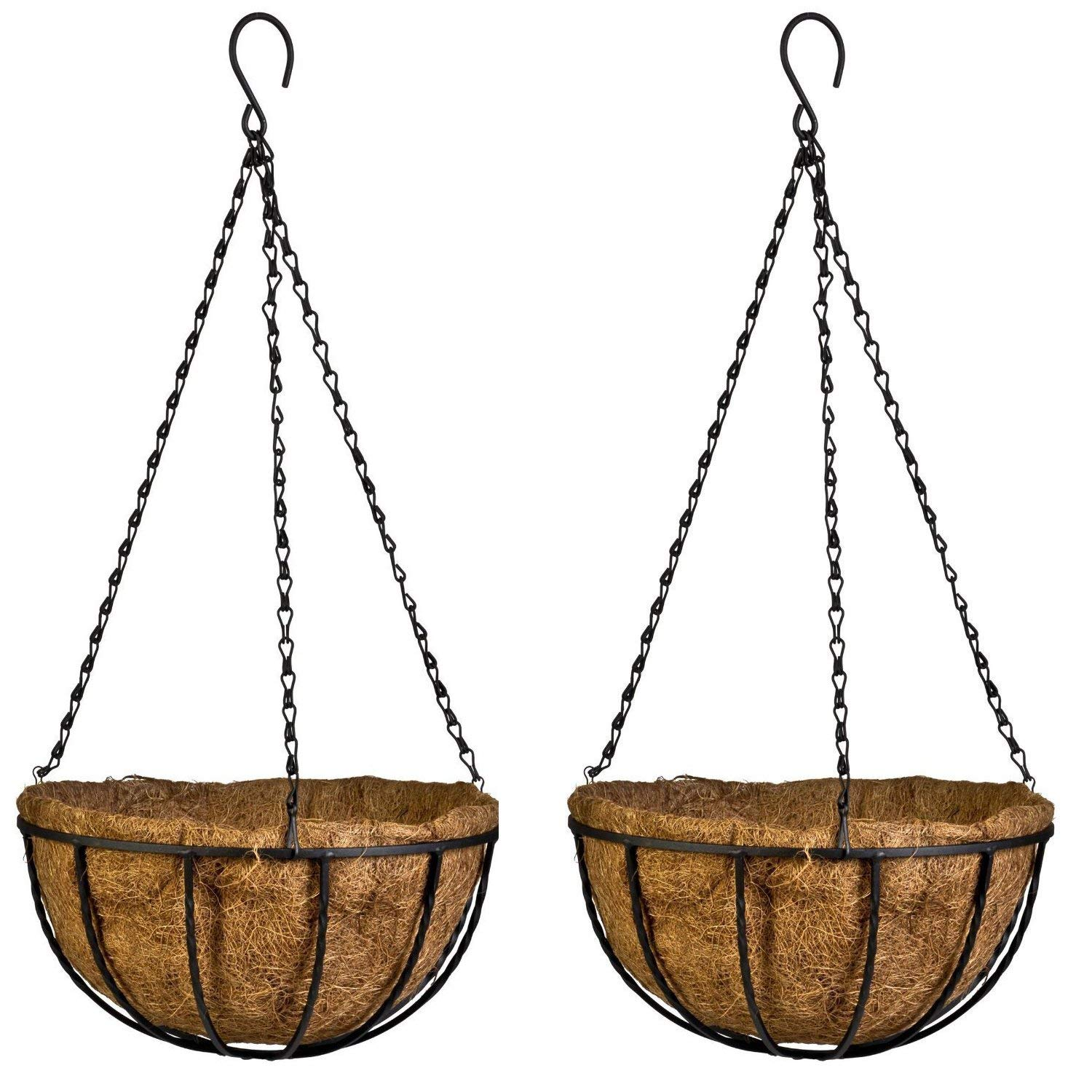 Vanze 2 Pack Hanging Basket Planter with Coco Coir Liner 10 Inch Round Wire Plant Holder with Chain Porch Decor Flower Pots Hanger Garden Decoration Indoor Outdoor Watering Hanging Baskets