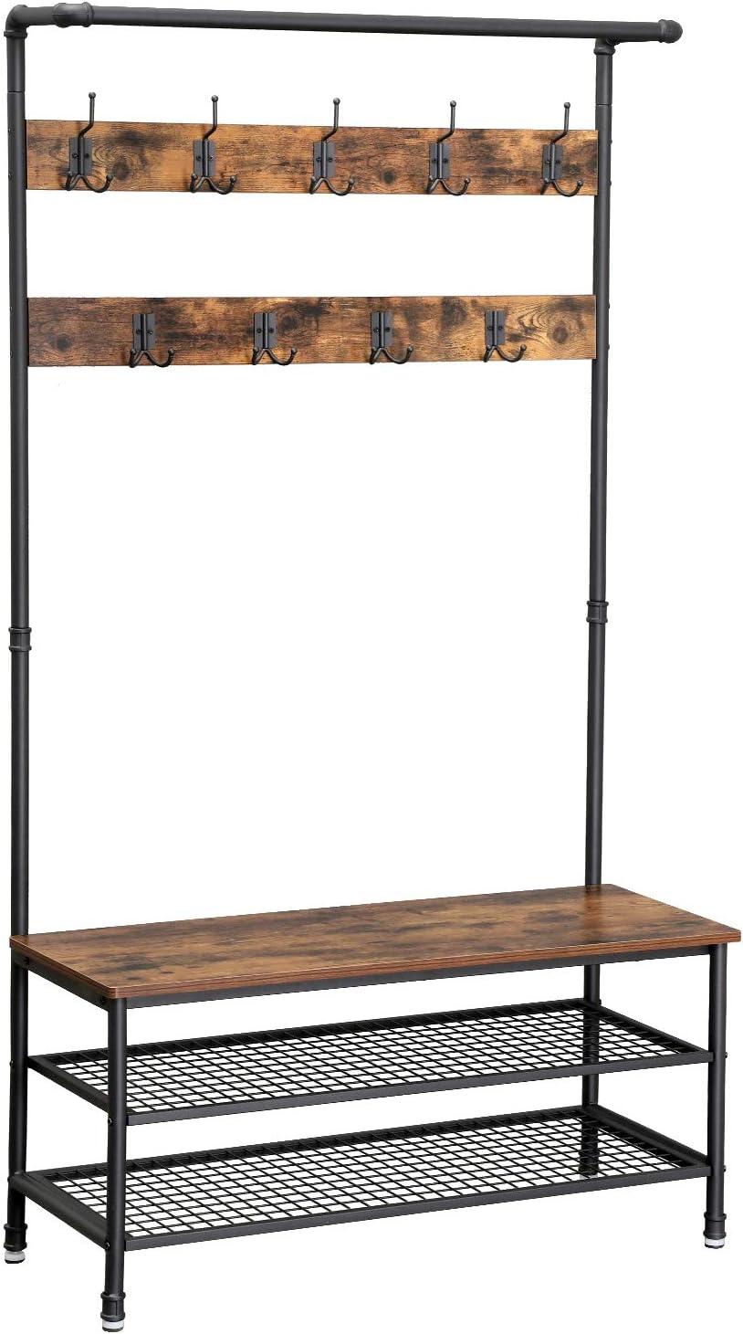 mueble recibidor industrial con perchero y zapatero