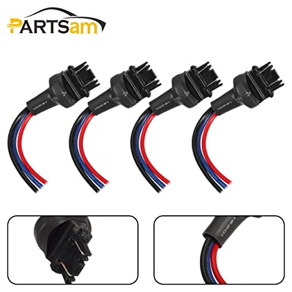 amazon com: partsam 3156 3157 male wired wiring harness sockets adapter for  turn signal light drl bulbs brake tail lights-4pcs: automotive
