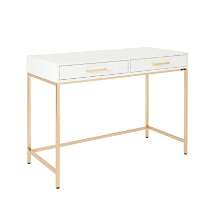 Amazoncom Osp Designs Als42 Wh Alios Desk With Gloss Finish White