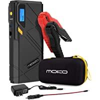 MoKo 1200A Peak Car Jump Starter, 12000mAh Portable Power Bank Battery Booster, with 2 USB Ports, Fast Charging and Emergency LED Flashlight (Yellow)