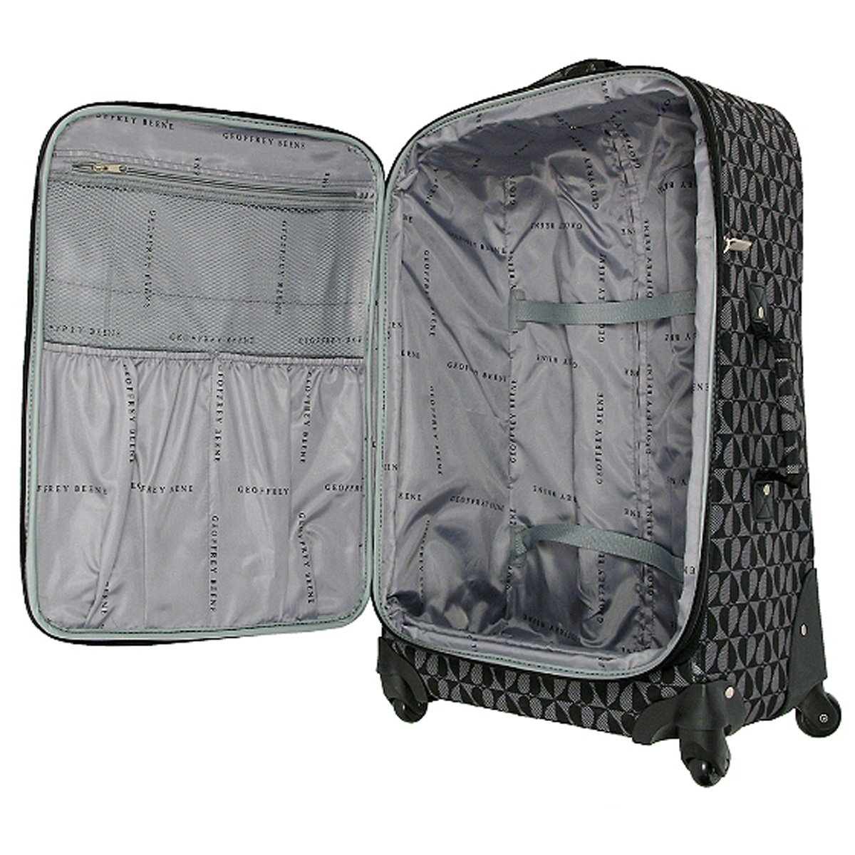 The Grey//black Geoffrey Beene 3-piece Hearts Luggage Set