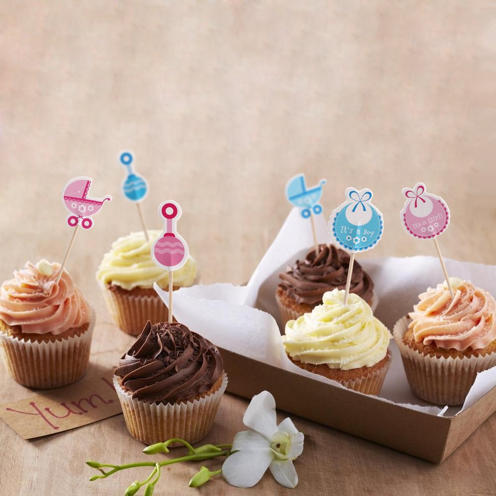 Zerodis Pack Of 50 Cupcake Toppers Birthday Baby Shower Cake Toppers