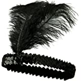 iLoveCos Roaring 20's Headband Sequined Showgirl Flapper Elastic Ostrich Feather Costume Headband Headpiece One size fits Most