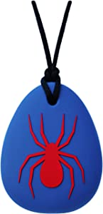 Munchables Spider Chew Necklace for Boys - Sensory Chewable Jewelry (Blue with Red)