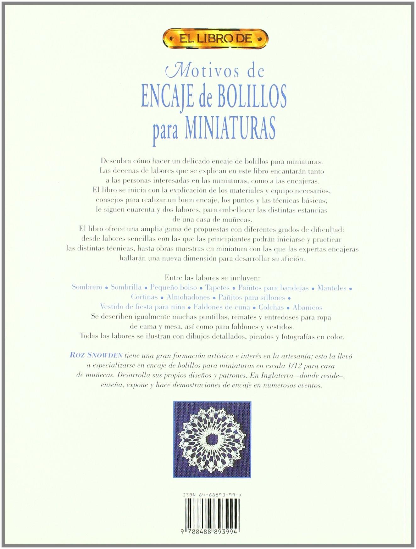 Motivos de Encaje de Bolillos Para Miniaturas - El Libro de (Spanish Edition): Roz Snowden: 9788488893994: Amazon.com: Books