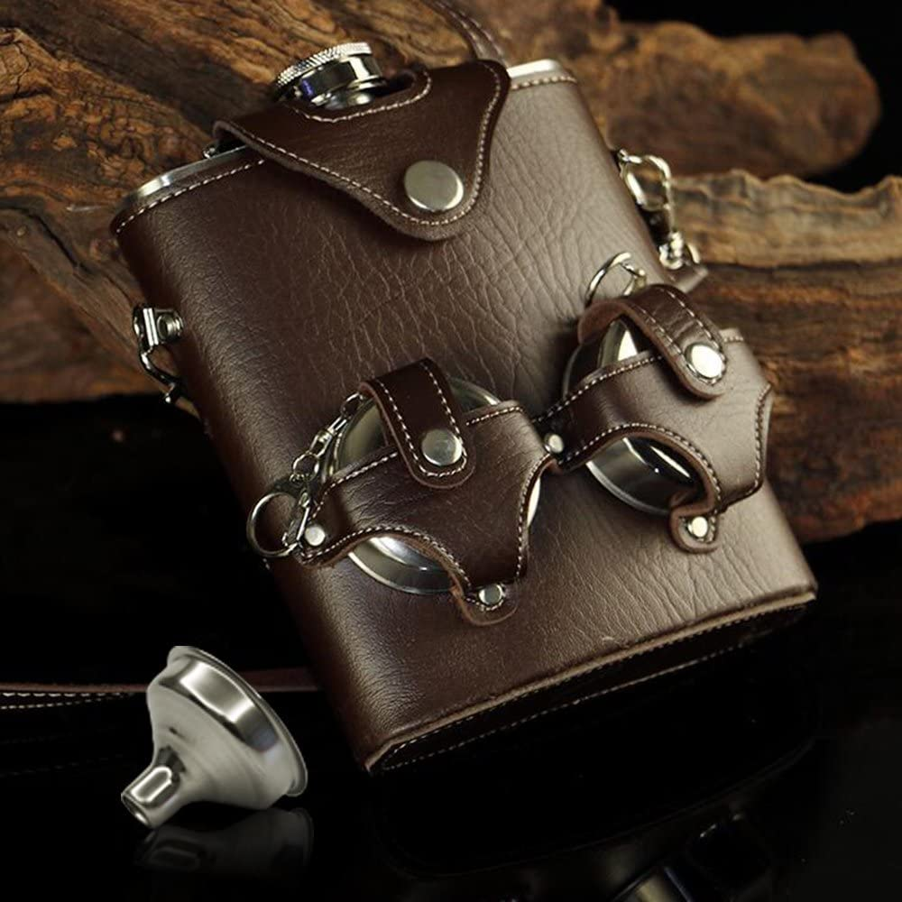 Liquor Hip Flask Set with Funnel 4 Cups and Leather Carrier Stainless Steel 7oz