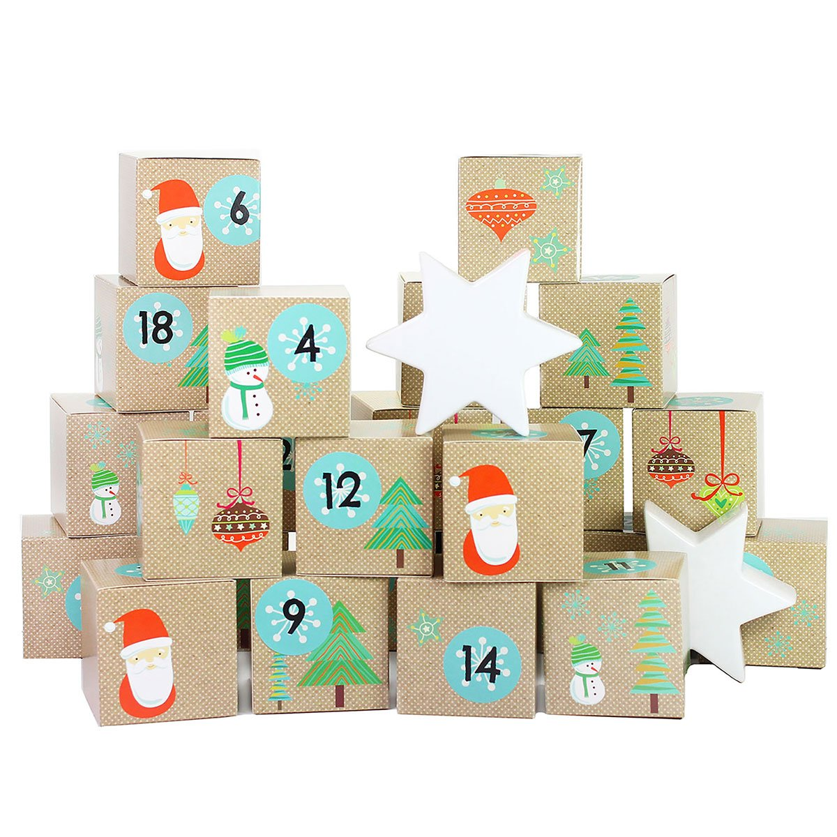 DIY Advent CalendarSet - Santa Claus - 24 Boxes for making and filling