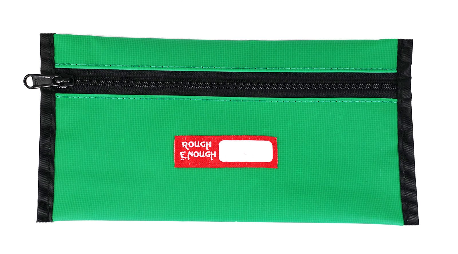 RE ROUGH ENOUGH Rough Enough Durable Tarpaulin Simple Flat Pencil Case Keeper Pouch Bag Organizer Storage Holder with Zipper for School Art Supplies Stationary Kit for Kids Boys Students Green