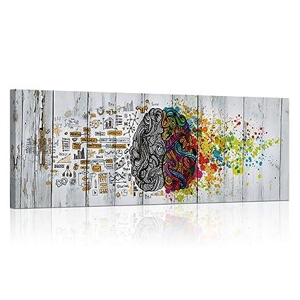 Visual art decor retro left and right brain advantage canvas poster inspiration motivation education science canvas