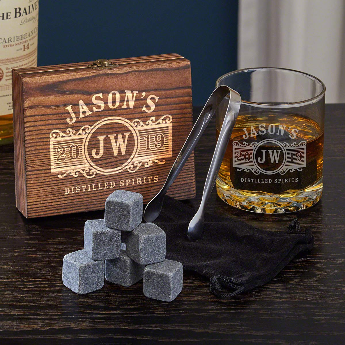 Marquee Engraved Whiskey Chilling Stones & Rocks Glass Set by Home Wet Bar for Whiskey, Bourbon or Scotch Lovers