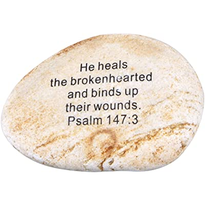 """Holy Land Market Extra Large Engraved Inspirational Scripture Biblical Natural Stones Collection - Stone VII : Psalm 147:3 :"""" He Heals The brokenhearted, and binds up Their Wounds : Garden & Outdoor"""