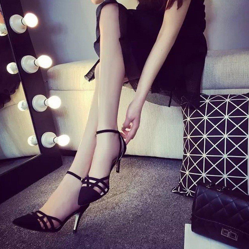 - DHG Sandales à Talons Hauts Tip Fine avec L'été Fermoir Coiffe Western Creux Bouche Peu Profonde Chaussures de Mode Rome,Une,36