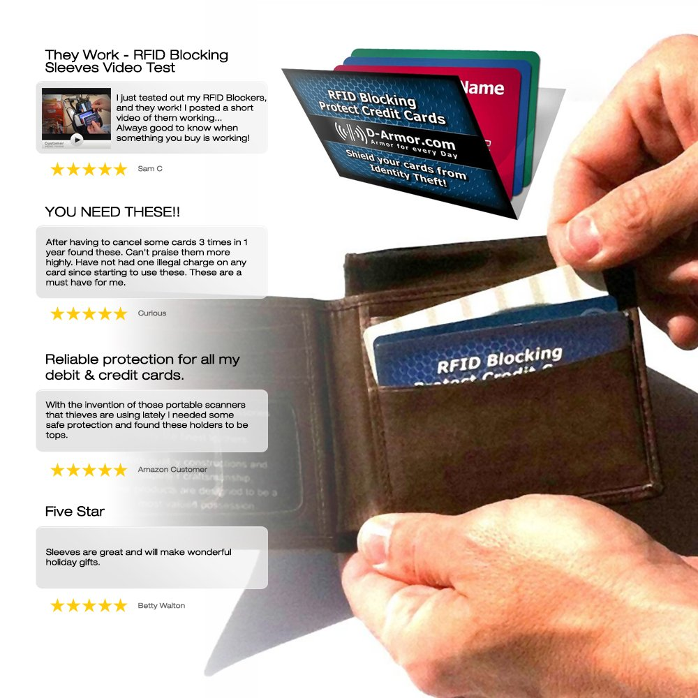 Amazon.com : D-Armor Rfid Blocking Wallet Sleeves Credit Card ...