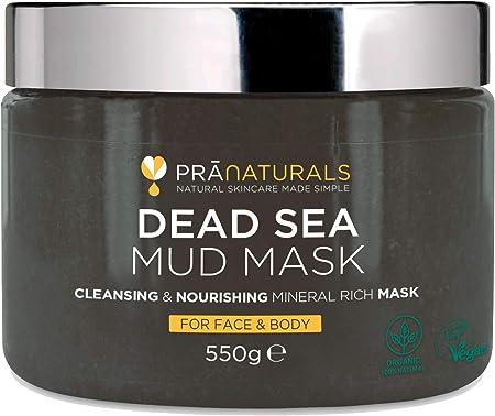 PraNaturals 550g Mascarilla Facial y Corporal 100% Natural y Orgánica con Barro del Mar Muerto, Rica en Minerales Nutritivos, Hidrata y Desintoxica la Piel, Exfolia Células Muertas de la Piel