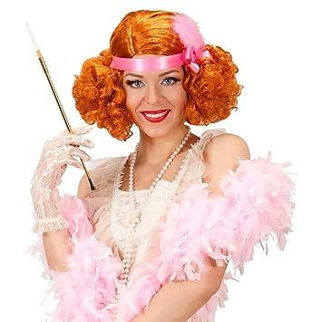 Peluca de carnaval charleston 20 pelo sintético señora rojo espectáculo rizado