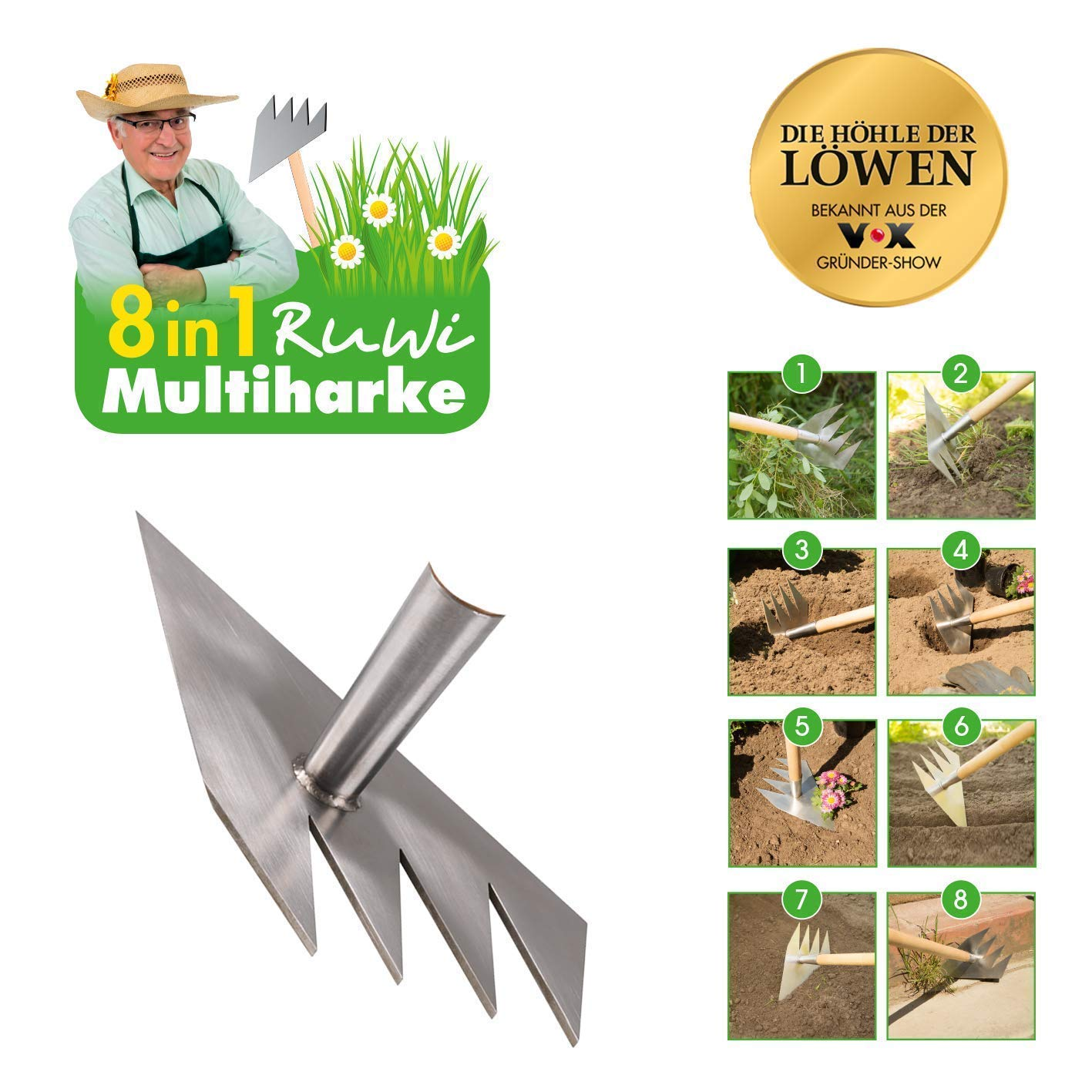 Spreading Mulch or Other Material Evenly and Leveling Areas Before Planting FBA-PAZI Qifen Garden Metal Rake Head Professional for Loosening or Breaking Up Compacted Soil