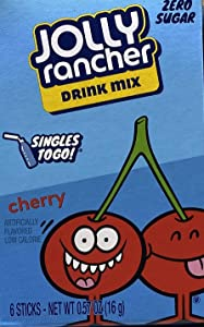 Jolly Rancher Singles-To-Go Sugar Free Drink Mix, Cherry, 6 CT (Pack of 12)