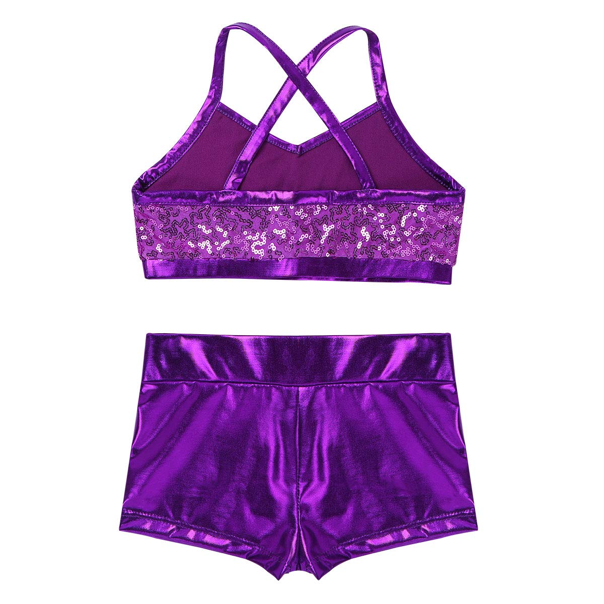 YONGHS Kids Girls Two Piece Tankini Swimsuit Spaghetti Straps Shiny Sequins Tank Top with Bottom Set Ballet Dance Wear