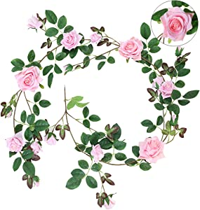 Hawesome 1Pcs Artificial Rose Vine Hanging Flower Garland 5.9FT Fake Roses Flowers Plants for Home Outdoor Wedding Arch Garden Wall Decor (Pink)