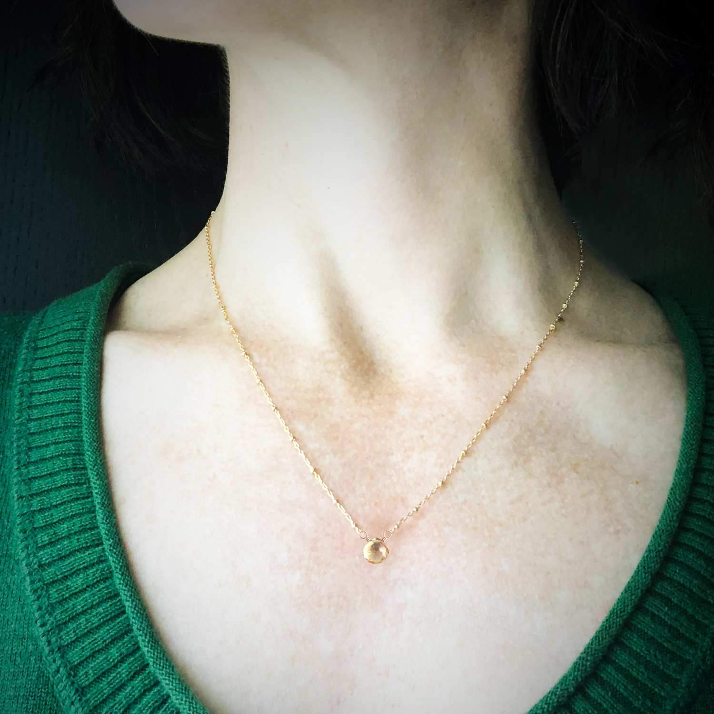 Genuine Citrine Necklace Dainty Gemstone November Birthstone 14k Gold Filled 18 Inches
