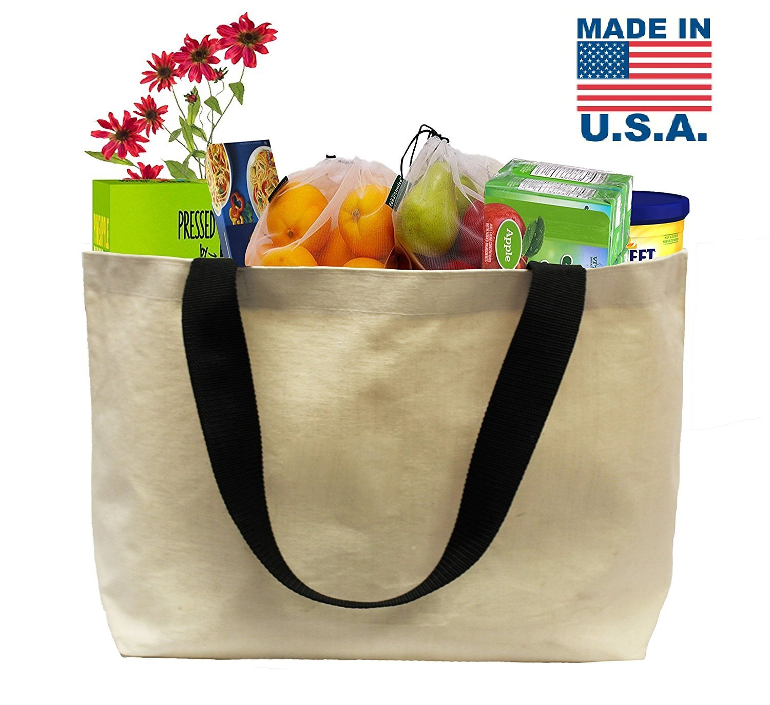 Earthwise EXTRA LARGE Grocery Bag Beach Shopping Tote HEAVY DUTY 12 oz Cotton Canvas Multi Purpose 22'' x 15'' PROUDLY MADE IN THE USA