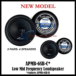 "4 Audiopipe APMB-6SB-C Two Pair 6-6.5"" Sealed Back Full Range Loud Speaker Mid"