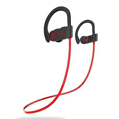 Miltuu - Auriculares inalámbricos deportivos con Bluetooth para gimnasio, correr, entrenamiento, 8 horas