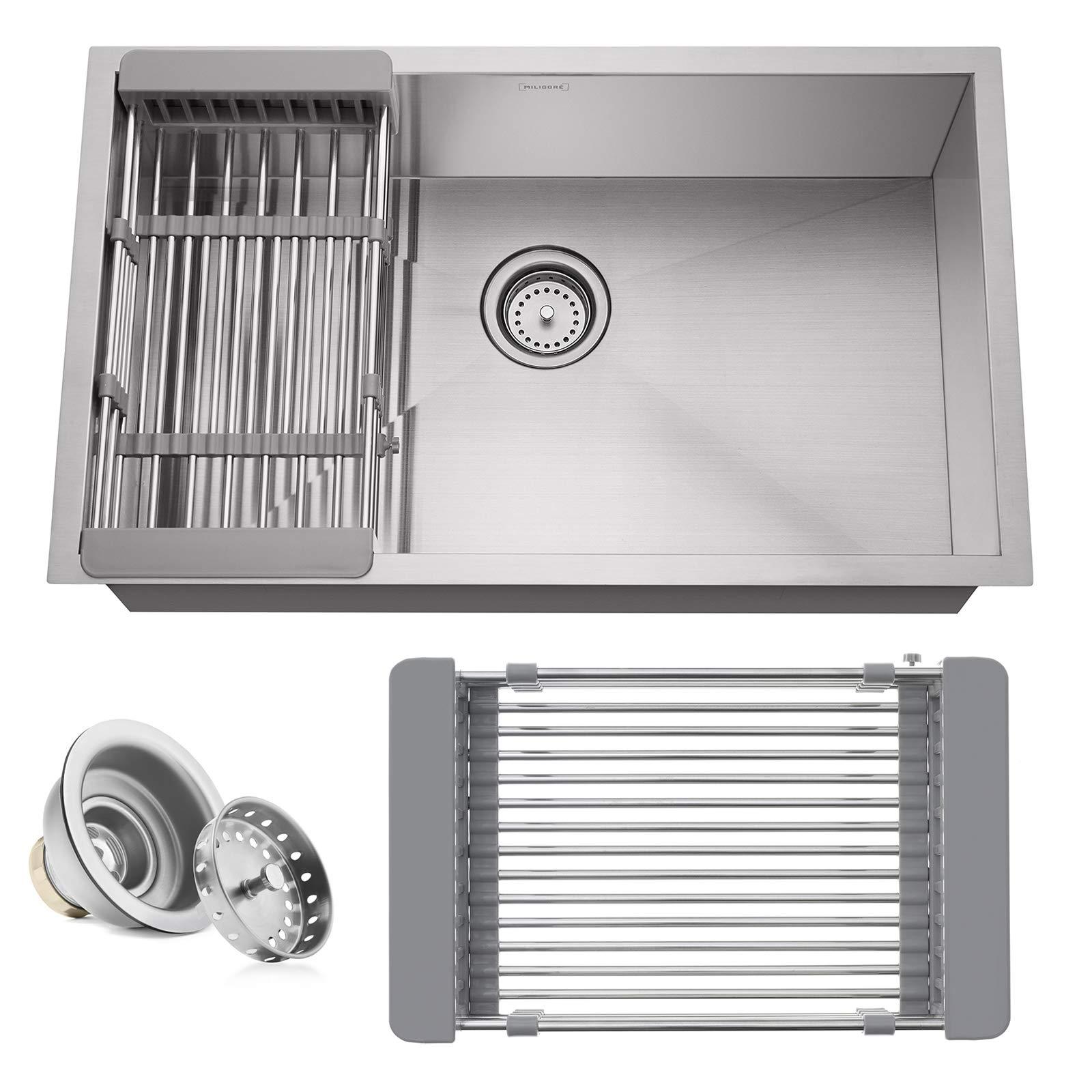 Miligore 30'' x 18'' x 9'' Deep Single Bowl Undermount Zero Radius Stainless Steel Kitchen Sink - Includes Drain/Adjustable Dish Rack