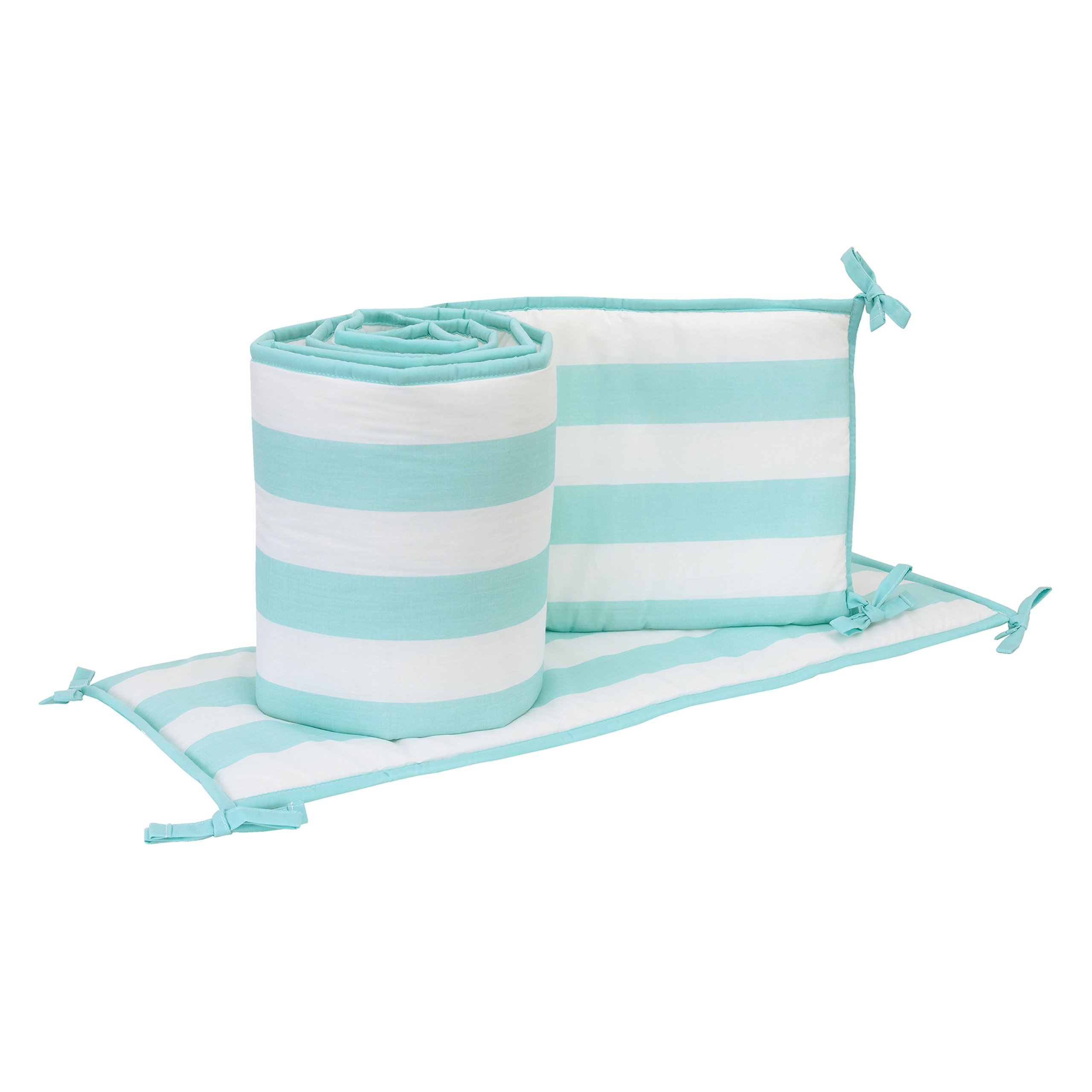 Little Love by NoJo Teal Stripe Print 4 Piece Nursery Crib Bumper, Teal/White