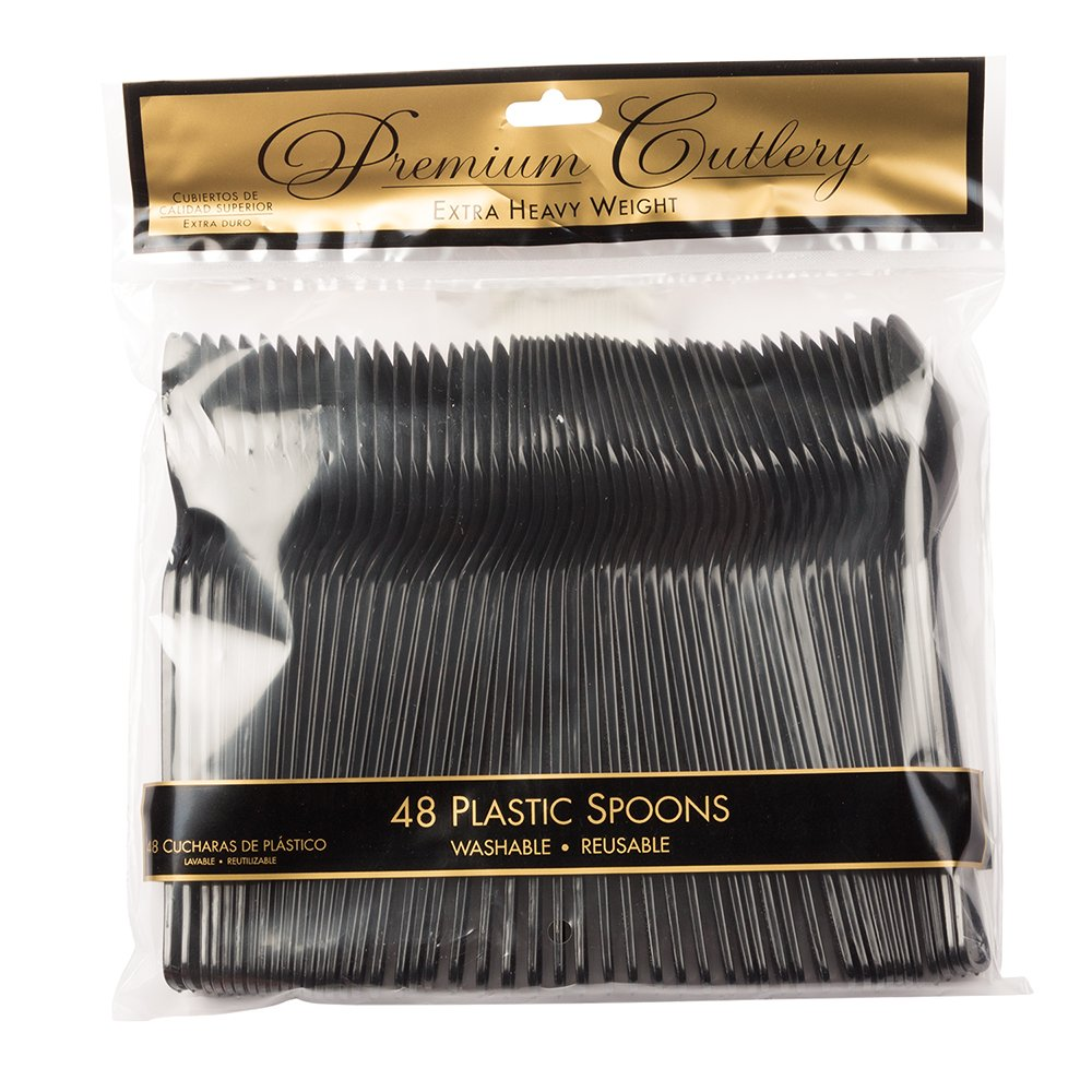Amazon.com: JAM PAPER Premium Utensils Party Pack - Plastic Spoons - Black - 48 Disposable Spoons/Pack: Kitchen & Dining