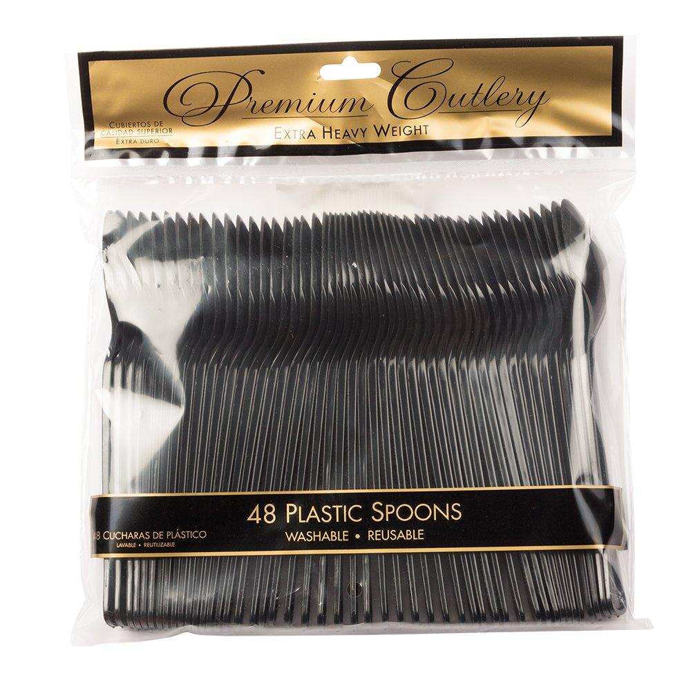 Amazon.com: JAM PAPER Premium Utensils Party Pack - Plastic Spoons - Black - 48 Disposable Spoons/Pack: Kitchen & Dining