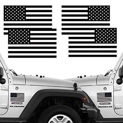 "CREATRILL Reflective Subdued American Flag Stickers 2 Pairs Bundle 3"" X 5"" Tactical Military Flag Reverse USA Decal for Jeep, Ford, Chevy or Hard Hat, Car Vinyl Window Bumper Decal Sticker: Automotive"