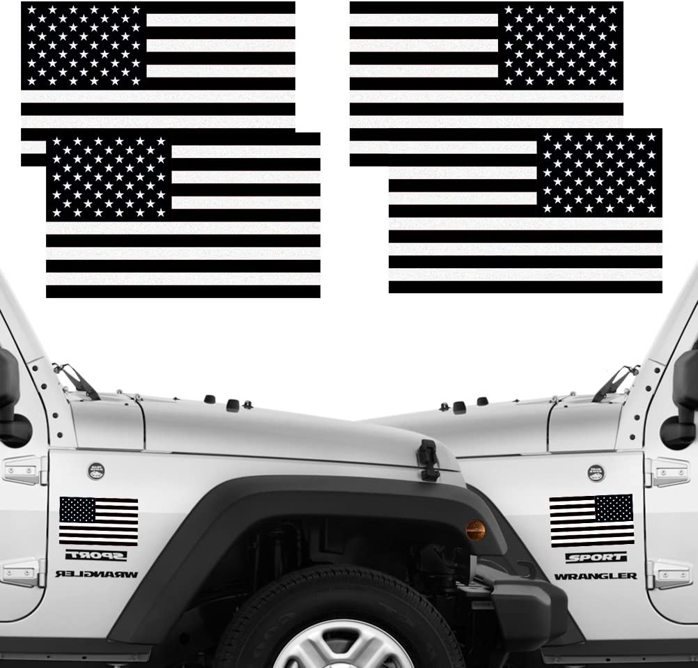 "Reflective Subdued American Flag Stickers 2 Pairs Bundle 3"" X 5"" Tactical Military Flag Reverse USA Decal for SUV, Hard Hat, Car Vinyl Window Bumper Decal Sticker"