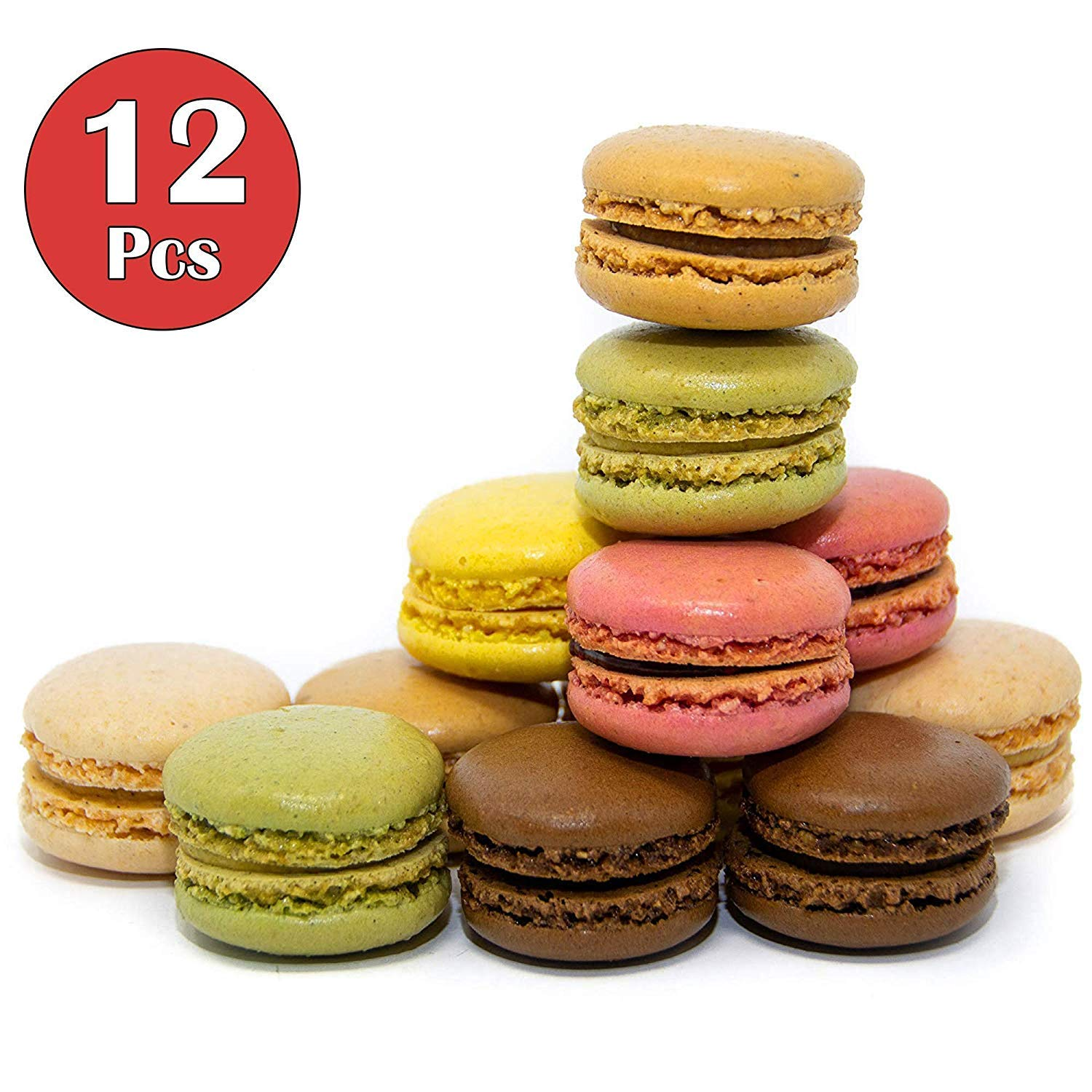 French Almond Macarons Gift - 12 pcs - Assorted Macaroons Cookies - Imported From France