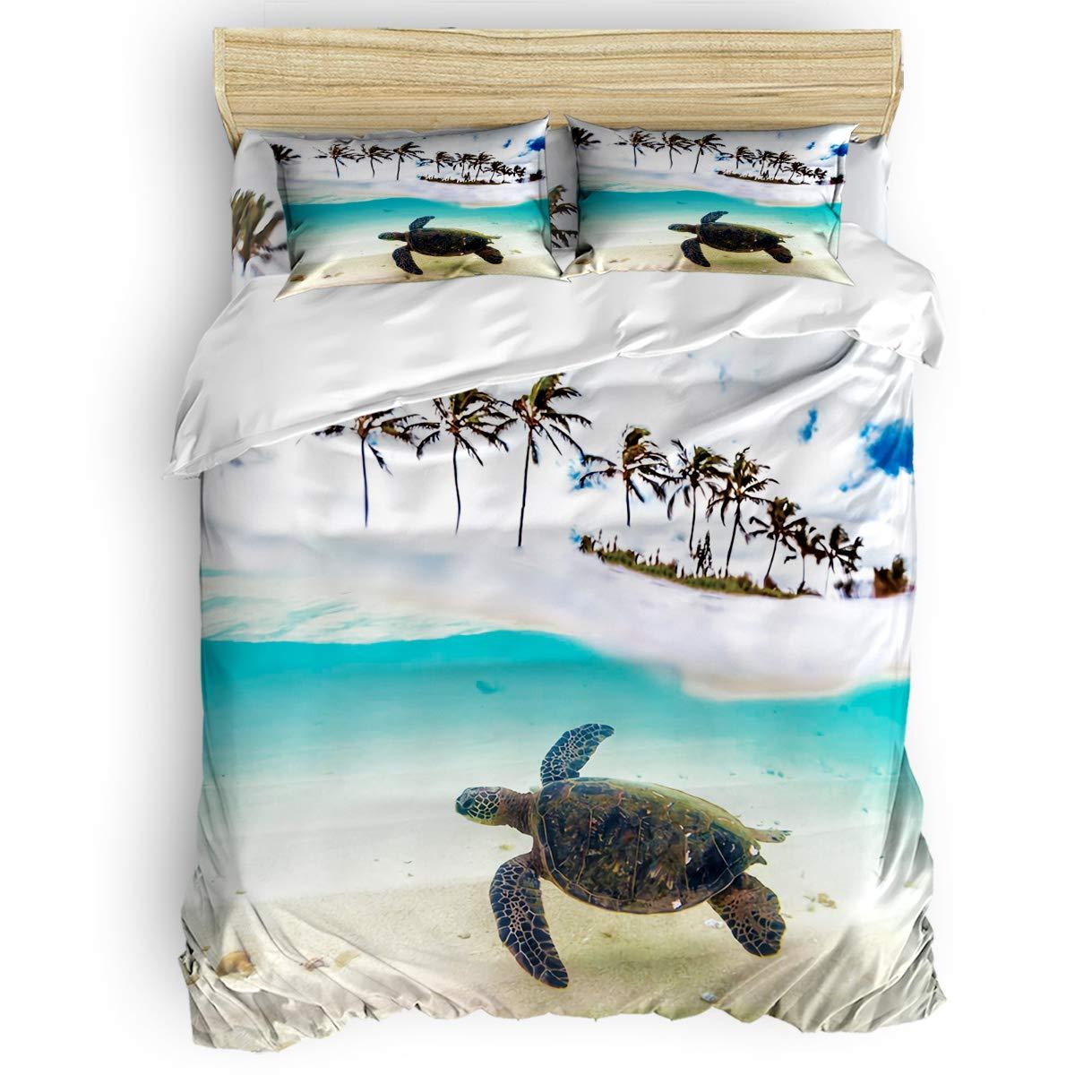 掛け布団カバー 4点セット アガベ 龍舌蘭 多肉 花 寝具カバーセット ベッド用 べッドシーツ 枕カバー 洋式 和式兼用 布団カバー 肌に優しい 羽毛布団セット 100%ポリエステル クイーン B07TG96WP3 Turtle5LAS2870 クイーン