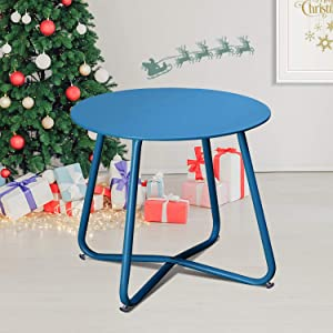 INOVIX Steel Patio Table Grand Steel Patio Side Table Small Coffee for Yard/Home/Outdoor,Home&Kitchen, (Blue)