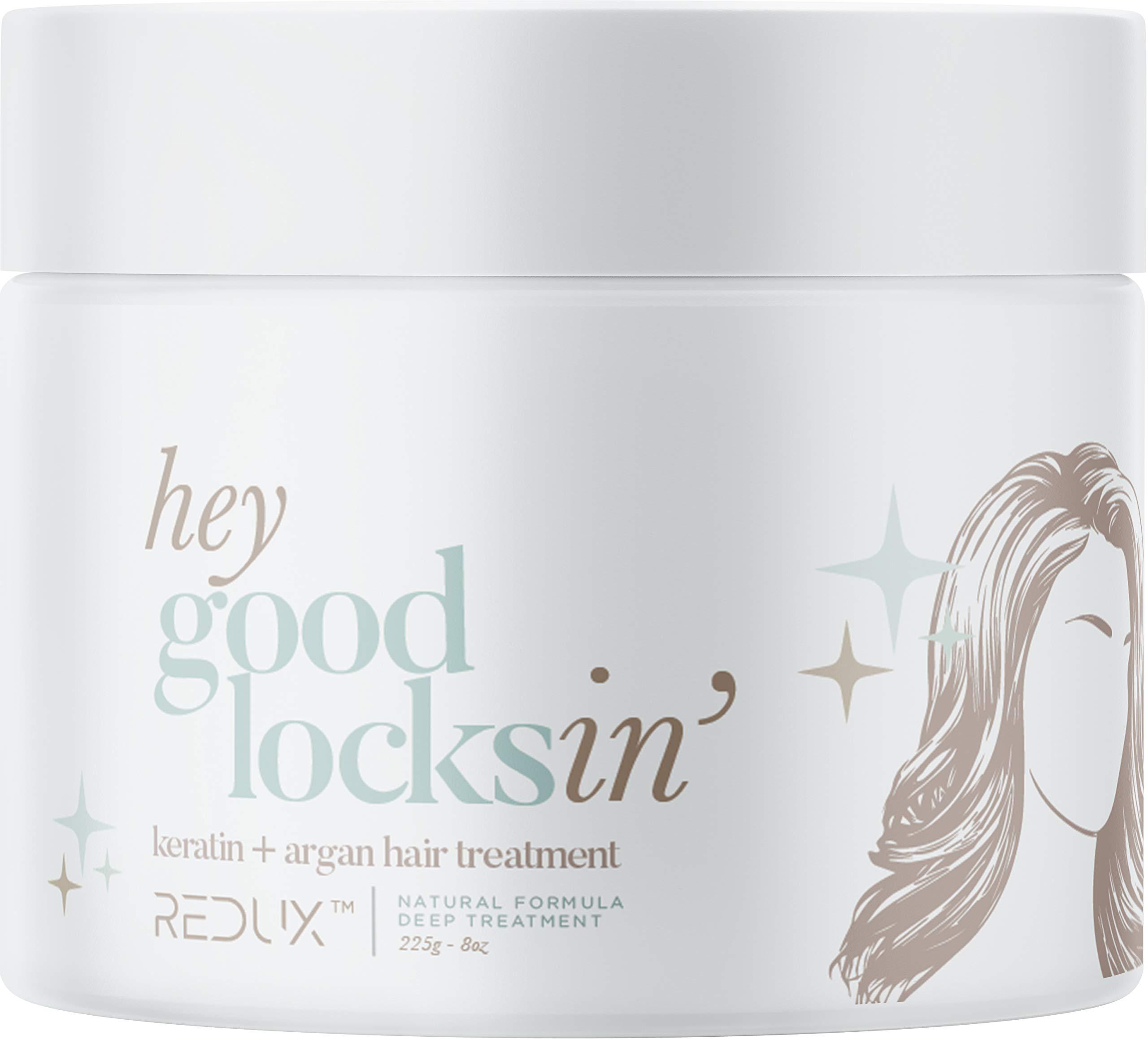 Hey Good Locksin Keratin Argan Hair Treatment - Natural Biotin 15 Minute Deep Treatment For Dull, Dry, Damaged Hair Repair, Nourishment 8oz