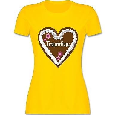 Oktoberfest Damen - Lebkuchenherz Traumfrau - S - Gelb - L191 - Damen T- Shirt