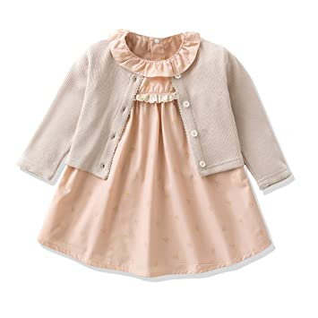 1895de0b61cd Ferenyi Baby Girl Clothes Long-sleeved Jacket With Floral Dress Sets ...
